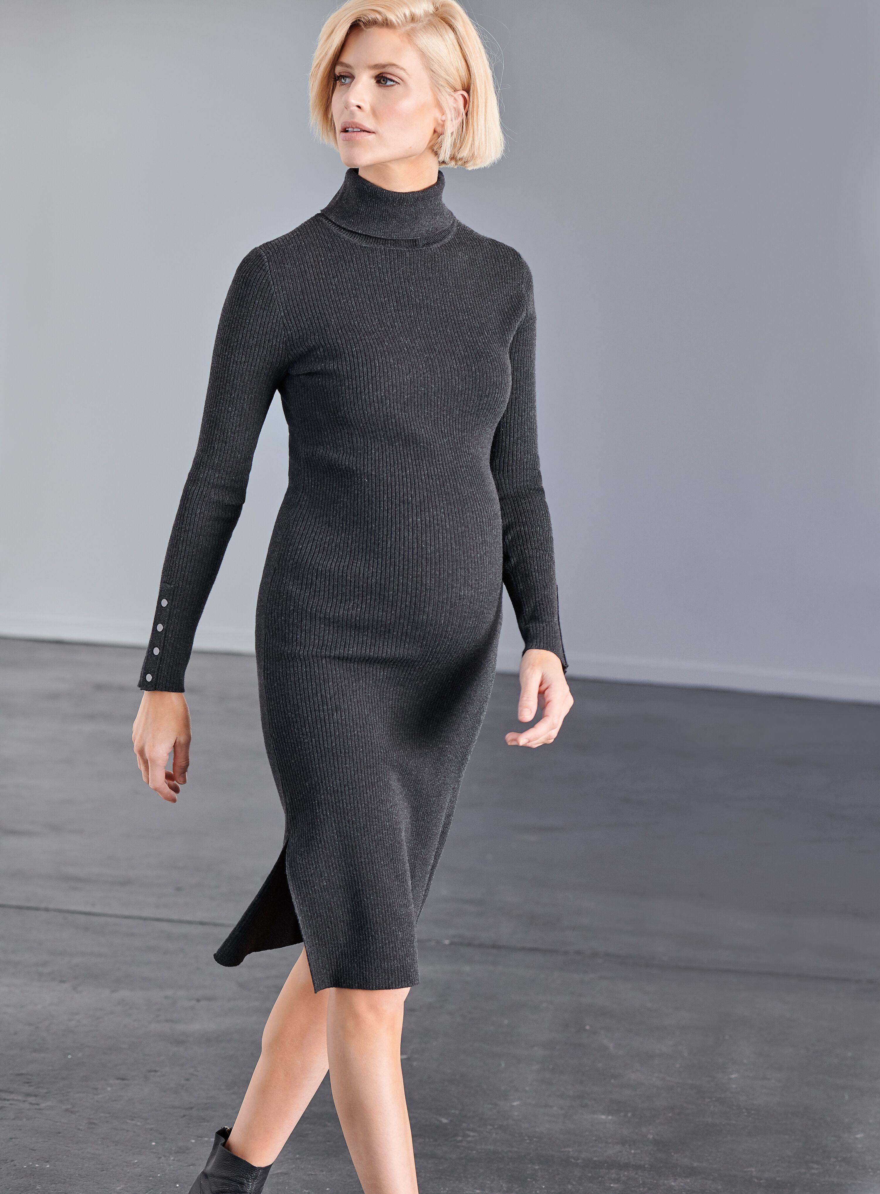 cfd992b18f Ripe Dakota Roll Neck Rib Dress – Charcoal – Maternal Instinct